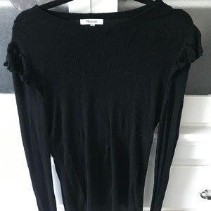 Madewell Black Ruffle Wool Sweater